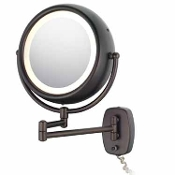 Bronze Lighted Wall Mount Magnification Makeup Mirror